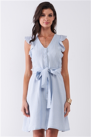 French Riviera Light Blue Striped Sleeveless Ruffle Floral Lace Trim Detail Self-Tie Waist Mini Dress