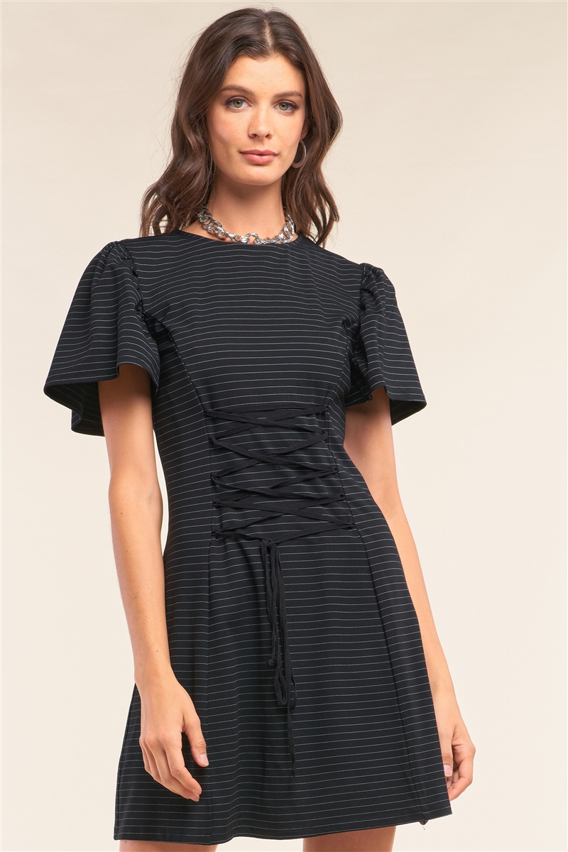 Black Striped Flare Short Sleeve Crew Neck Criss-Cross Lace-Up Detail Fitted Mini Dress /1-2-2-1