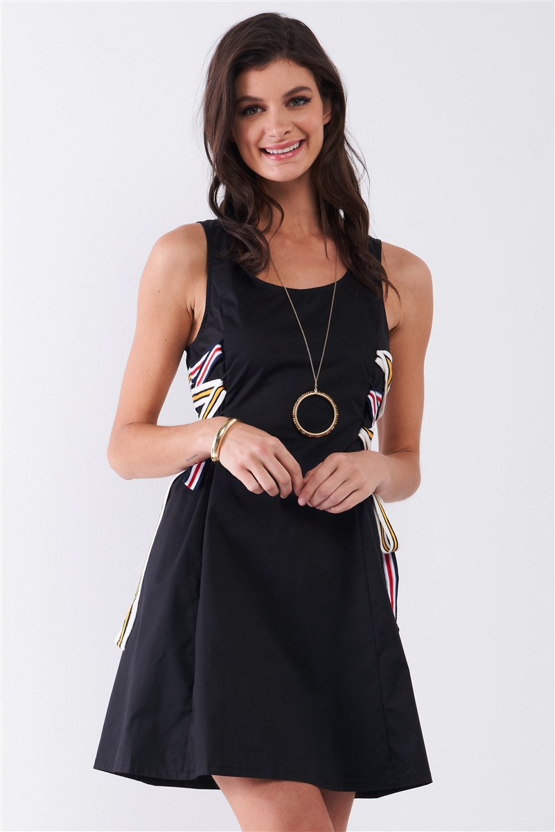 Black Multicolor Strap Lace-Up Side Detail Sleeveless Round Neck Mini Dress /1-2-2-1