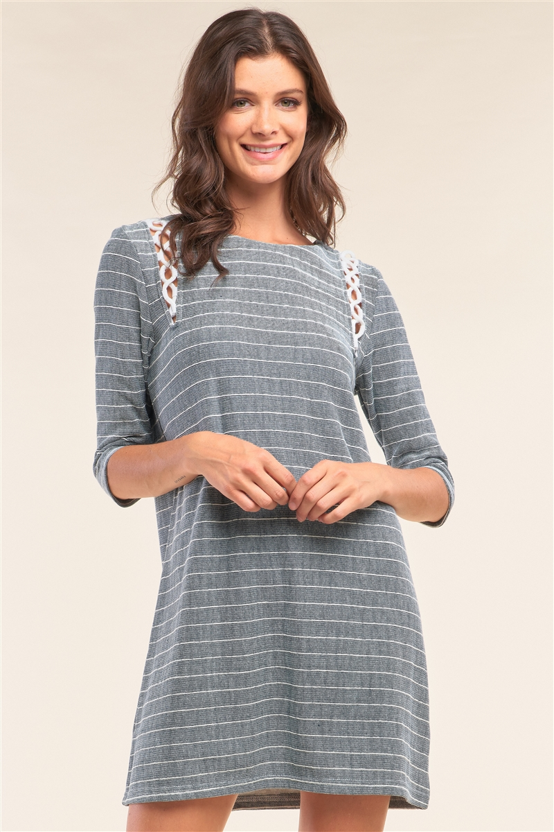 Blue&White Striped Print Rope Loop Trim Detail Crew Neck Loose Fit Mini Dress /1-3-1