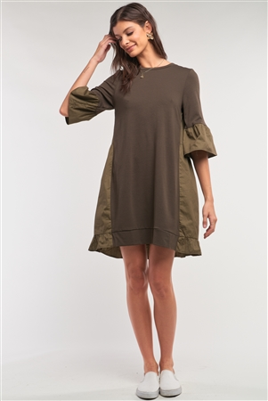 Olive Loose Fit Crew Neck Ruffle Detail Midi Sleeve Cotton Back Panel Detail T-Shirt Mini Dress /1-2-2