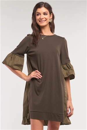 Olive Loose Fit Crew Neck Ruffle Detail Midi Sleeve Cotton Back Panel Detail T-Shirt Mini Dress /1-2-2-1
