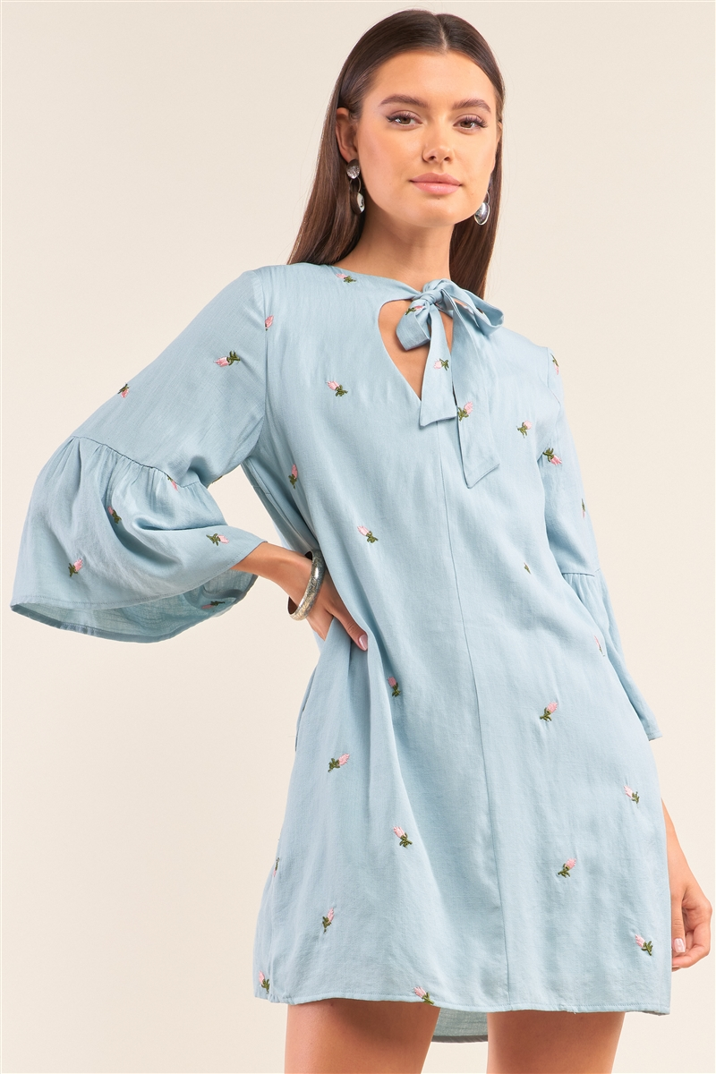 Baby Blue Floral Embroidery Detail Self-Tie V-Neck Angel Sleeve Mini Dress /1-2-2-1