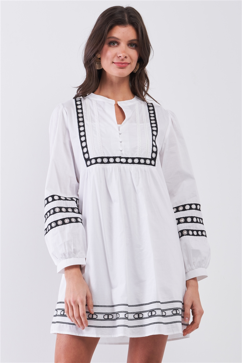 White & Black Embroidered Balloon Sleeve Shift Mini Dress With Slip