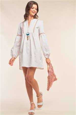 White Long Balloon Sleeve Tribal Embroidery Detail Loose Fit Mini Dress /1-2-2