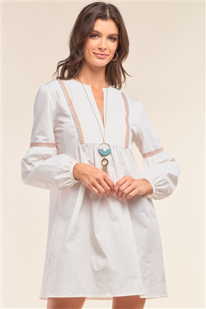 White Long Balloon Sleeve Tribal Embroidery Detail Loose Fit Mini Dress /1-2-2-1