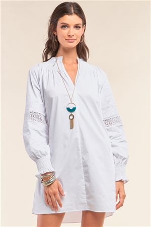 White Long Sleeve Mock Neck Lace Embroidered Poplin Mini Dress /1-2-2-1
