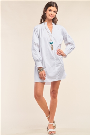 White Long Sleeve Mock Neck Lace Embroidered Poplin Mini Dress /1-3-2
