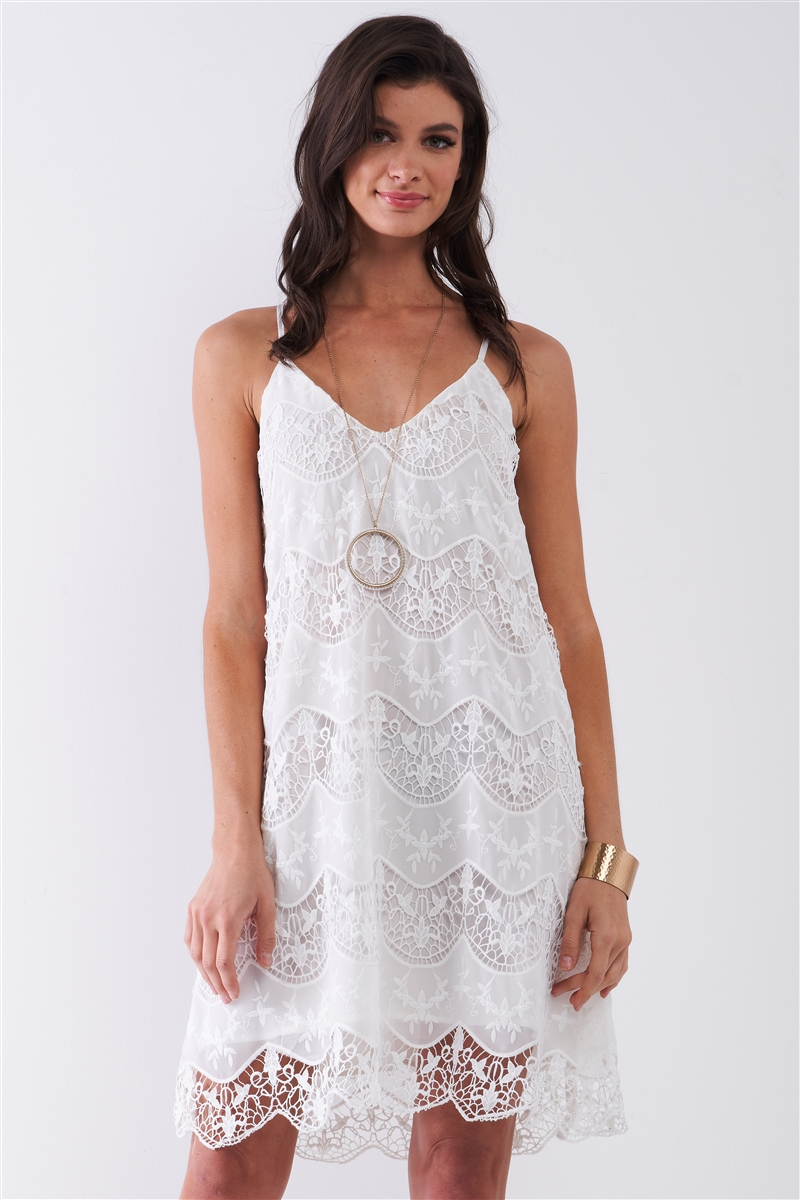 White Crochet Knit Embroidery Sleeveless V-Neck Self-Tie Multi-Cross Back Detail Babydoll Mini Dress /1-2-2-1