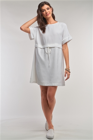 Off-White Short Sleeve Relaxed Fit Draw String Tie Waist Detail Mini Dress /1-2-2