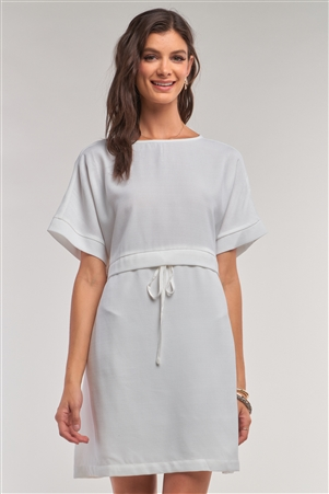 Off-White Short Sleeve Relaxed Fit Draw String Tie Waist Detail Mini Dress /1-2-2-1