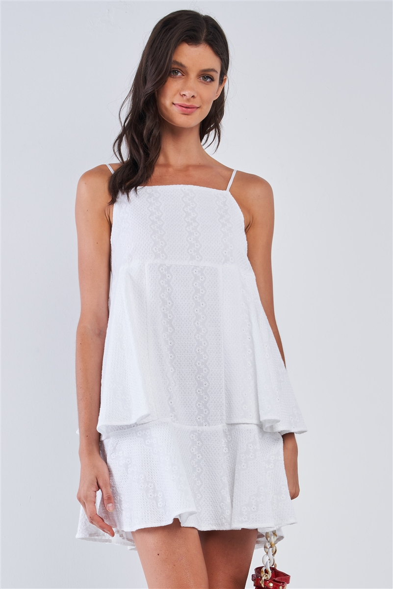 White Boho Relaxed Fit Sleeveless Embroidered Layered Mini Dress /1-2-2-1