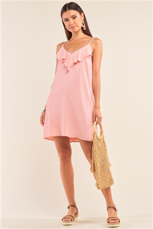 Peach Sleeveless Relaxed Fit Ruffle V-Neck Corset Inspired Lace-Up Back Detail Mini Dress /1-1-2-1