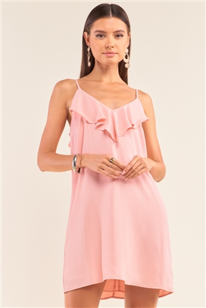 Peach Sleeveless Relaxed Fit Ruffle V-Neck Corset Lace-Up Back Detail Mini Dress /1-2-2-1