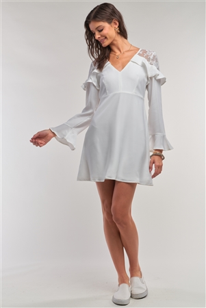 White Long Sleeve V-Neck Ruffle Lace Mesh Embroidery Trim Mini Dress /1-1-3