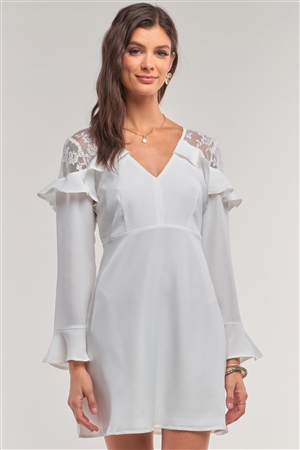 White Long Sleeve V-Neck Ruffle Lace Mesh Embroidery Trim Mini Dress /1-2-2-1