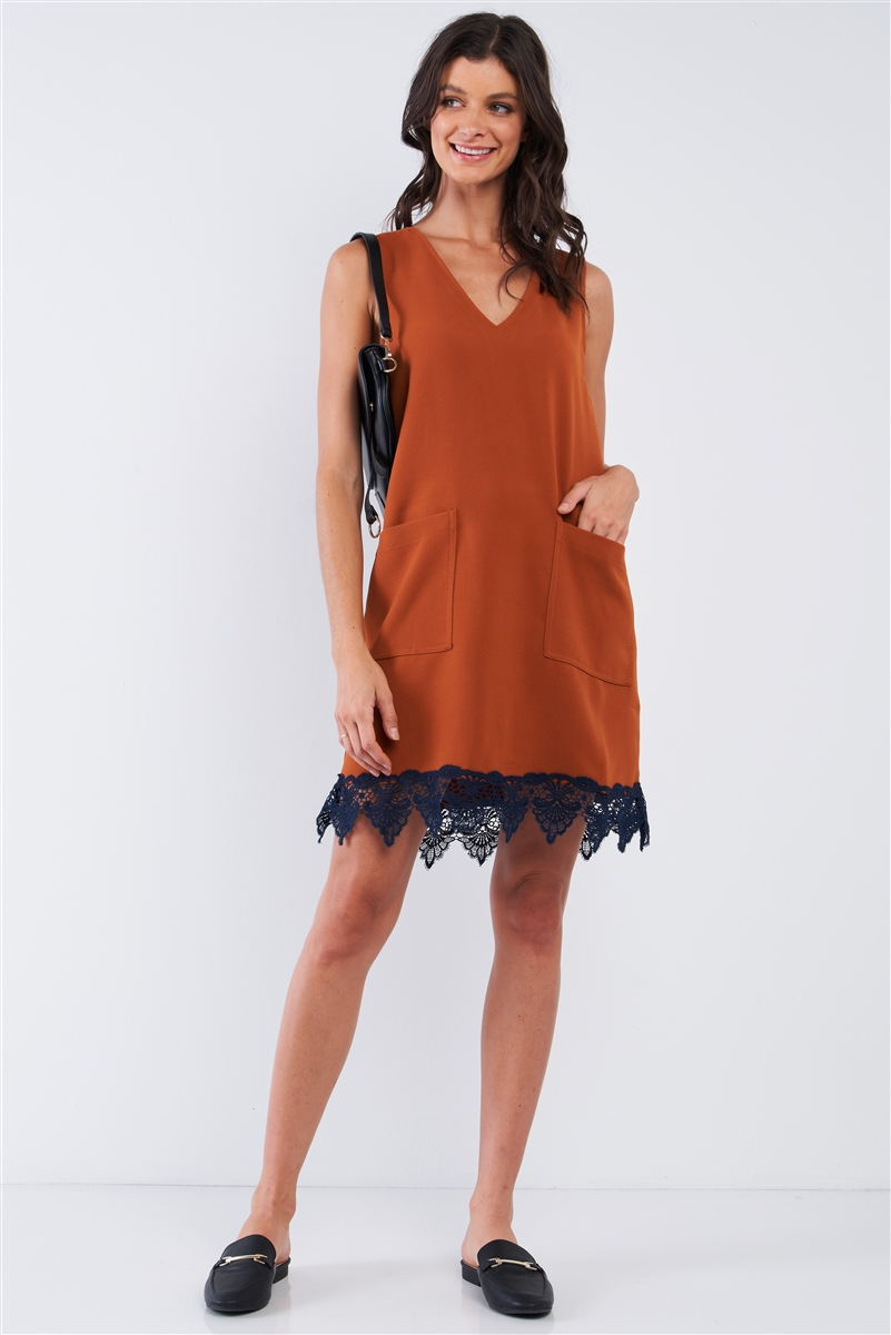Light Brown Blue Crochet Bottom Hem Sleeveless Deep Plunge V-Neck Loose Fit Mini Dress /1-2-2-1
