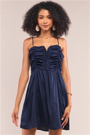 Midnight Blue Satin Sleeveless Gathered Frill Trim Detail Heart-Shaped Neck Mini Dress /1-2-2-1