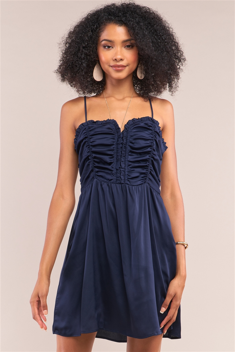 Midnight Blue Satin Sleeveless Gathered Frill Trim Detail Heart-Shaped Neck Mini Dress