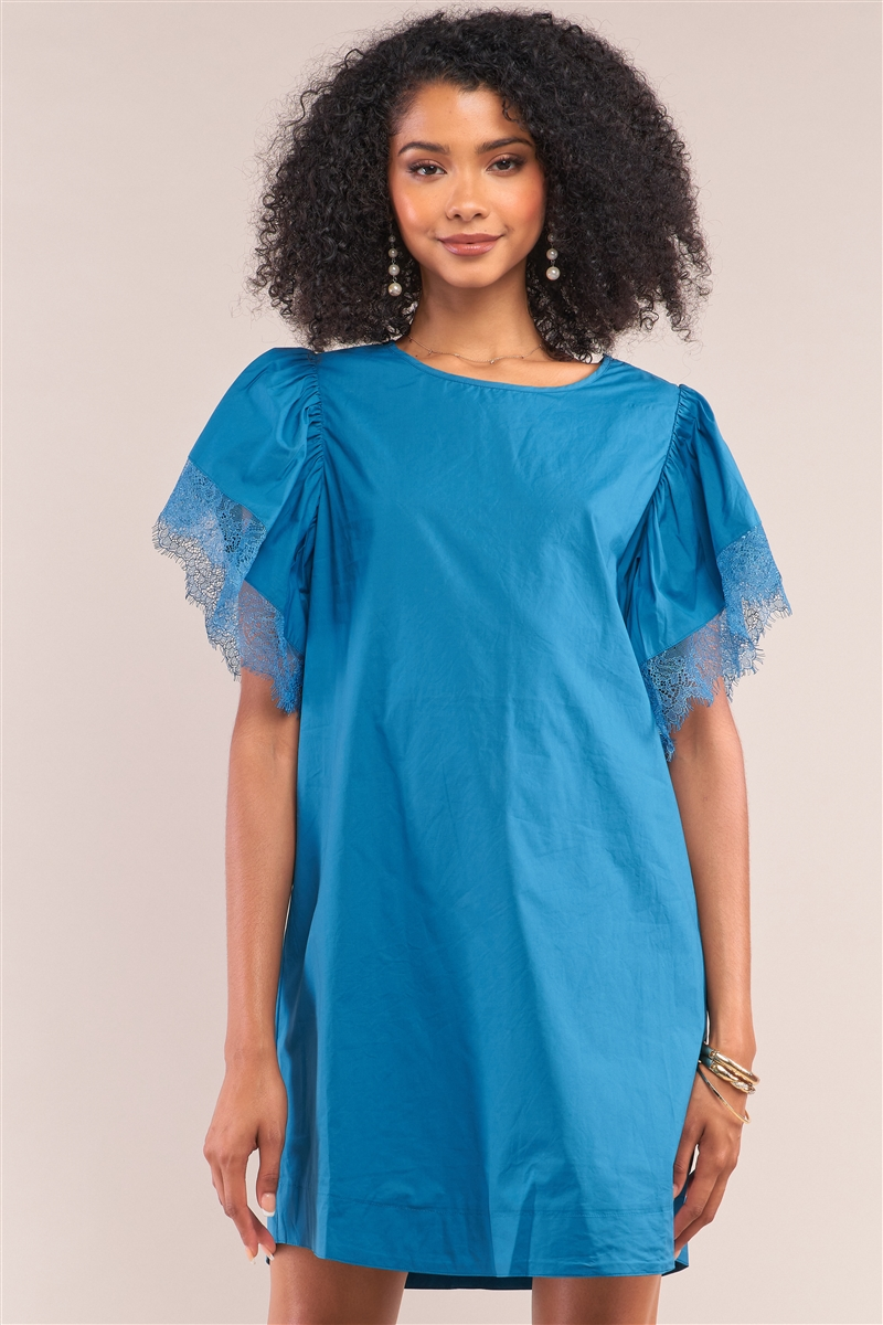 Celestial Blue Relax Fit Lace Hem Wing Sleeve Round  Neck Mini Dress/1-2-2-1