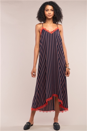 Navy Striped V-Neck Red Lace Trim Racerback Midi Slip Dress