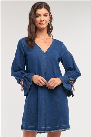 Dark Denim V-Neck Flare Hem Long Sleeve Multi Color Lace Detail Mini Dress /3-2