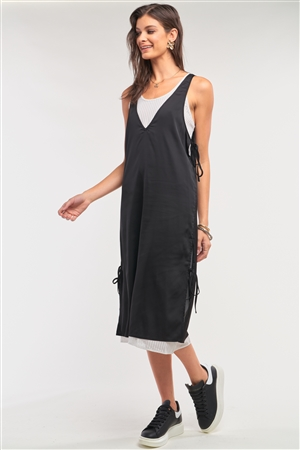 Black&White Satin Sleeveless Two-In-One Striped Mesh Self-Tie Detail Slip Midi Dress /1-1-2