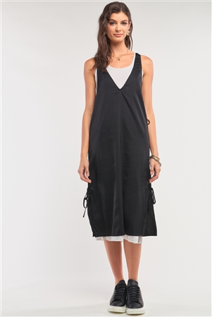 Black&White Satin Sleeveless Two-In-One Striped Mesh Self-Tie Detail Slip Midi Dress /1-2-2-1