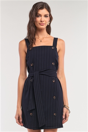 Navy Pinstriped Sleeveless Square Neck Double Breasted Self-Tie Belt Detail Fitted Mini Dress /1-2-2-1