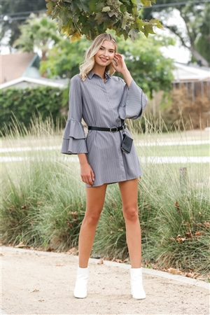 Grey Pinstriped Relaxed Button Down Long Flare Sleeve Shirt Mini Dress /1-2-2-1