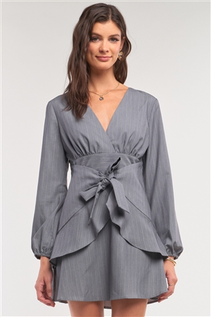 Grey Pinstriped V-Neck Long Puff Sleeve Corset Inspired Wrap Self-Tie Waist Detail Shirt Mini Dress /1-2-2-1