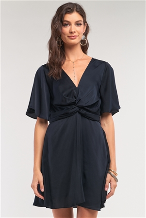 Jade Black Satin Plunging Neckline Gathered Twist Detail Front Angel Sleeve Mini Dress /1-2-2-1