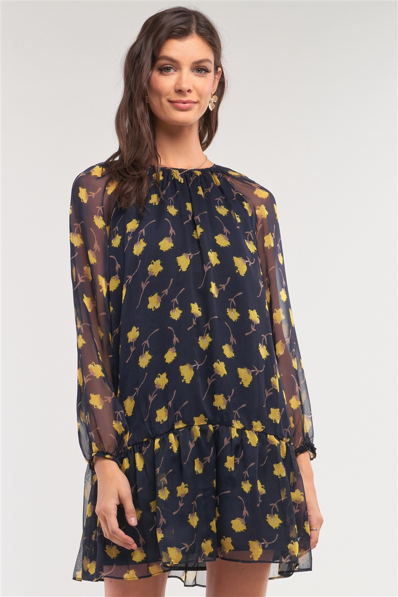 Navy Yellow Flower Print Relaxed Fit Mesh Flare Hem Crew Neck Long Balloon Sleeve Mini Dress/2-1-2