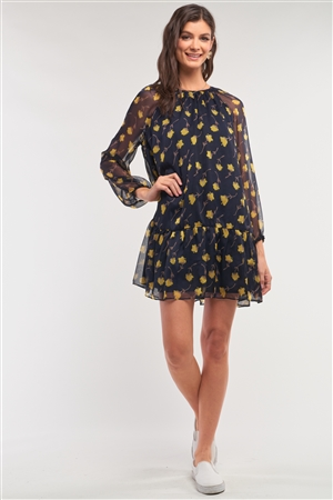 Navy Yellow Flower Print Relaxed Fit Mesh Flare Hem Crew Neck Long Balloon Sleeve Mini Dress