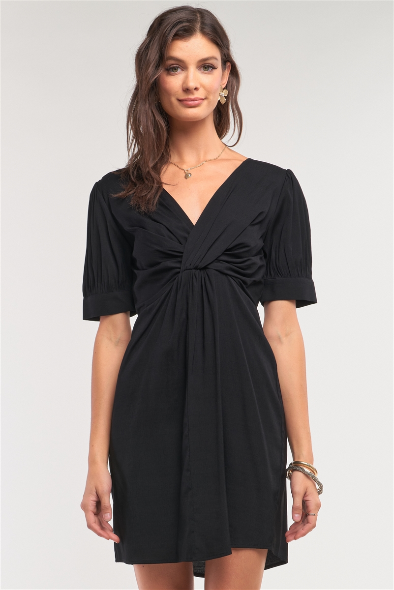 Black V-Neck Twist Front Detail Mini Dress /1-2-2