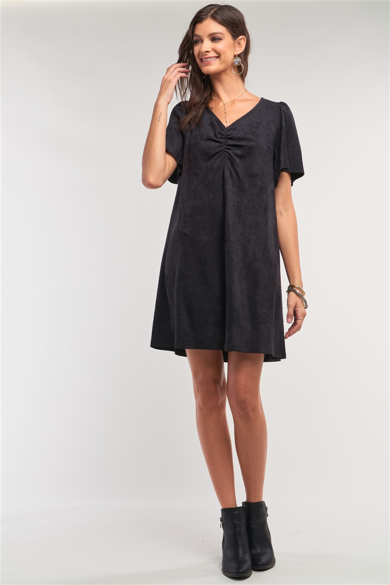 Black Suede Loose Fit V-Neck Gathered Chest Detail Mini Dress /1-2-2-1