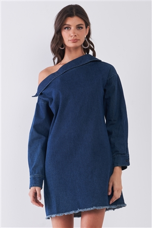 Medium Blue Denim Lapeled One-Shoulder Detail Long Sleeve Raw Hem Mini Dress