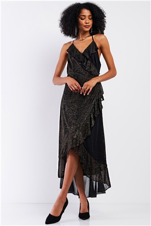 Black&Gold Shiny Flounce Trim  Asymmetrical Self-Tie Wrap Halter-Tie Neck Open Back Detail Midi Dress /1-2-2-1