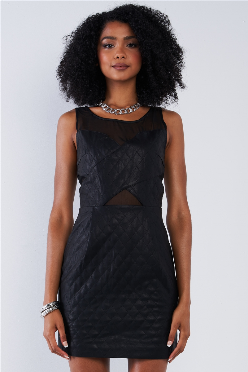 Black Quilted Vegan Leather Sweetheart Mesh Neckline Mini Dress