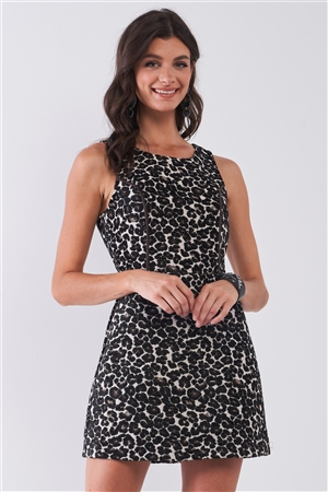 Black Leopard Print Sleeveless Round Neck Structured Cut-Out Back Detail Flare Mini Dress /2-3-1