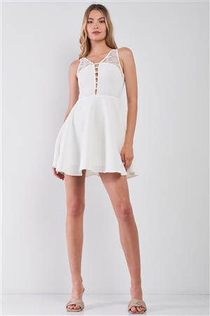 White V-Neck Sleeveless Front Horizontal Straps Lace Trim Back Cut-Out Mini Dress /1-3-2