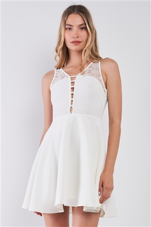 White V-Neck Sleeveless Front Horizontal Straps Lace Trim Back Cut-Out Mini Dress /4-2-1