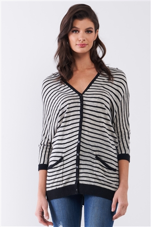 Grey Striped Button-Up Front Midi Sleeve Relaxed Cardigan Top /1-2-1