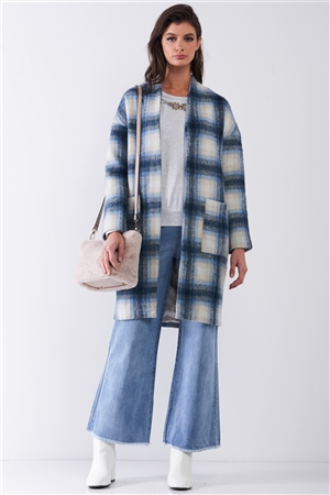 Blue Madras Check Plaid Open Front Long Sleeve Straight Wool Coat Jacket
