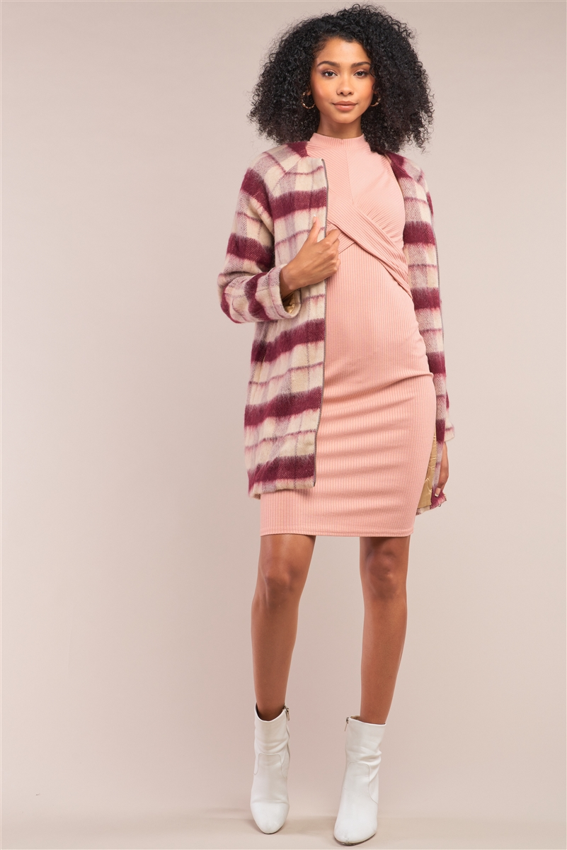 Cranberry Champagne Checkered Wool Long Sleeve Zip-Up Coat Jacket /1-1-2-1