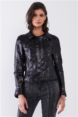 Black Matte Sequin Long Zip-Up Sleeve Oblique Zipper Front Detail Glam Jacket /1-2-2-1