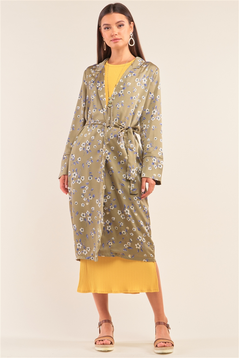 Green Multi Floral Open Front Self Tie Duster Coat