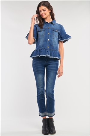 Medium Blue Washed Denim Effect Short Sleeve Button-Down Front Flare Shredded Hem Shirt Jacket /2-1-3