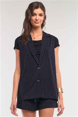 Navy Pinstriped Blazer Vest Top And High Waisted Mini Shorts Two-Piece Set /1-2-2-1