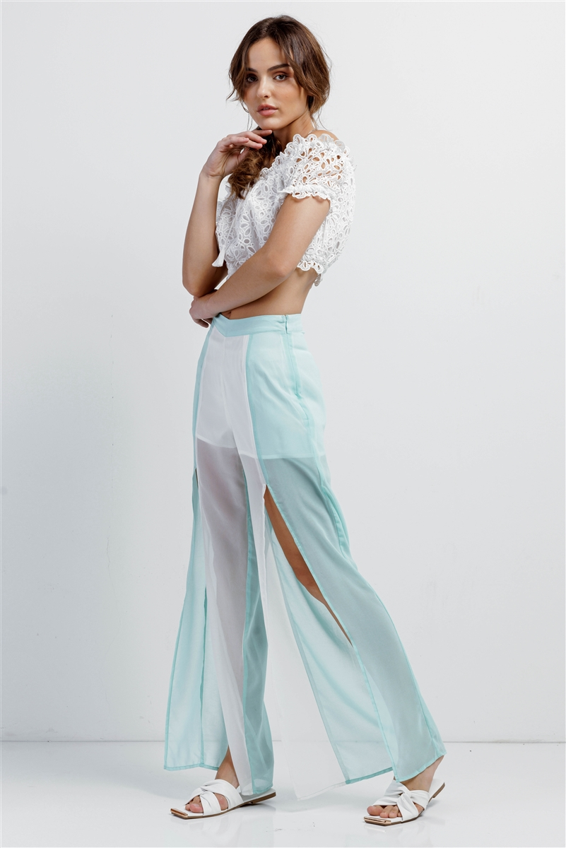 Aqua & White Color Block Semi-Sheer Chiffon High Waist Front Slit Detail Wide Leg Pants /1-3-2